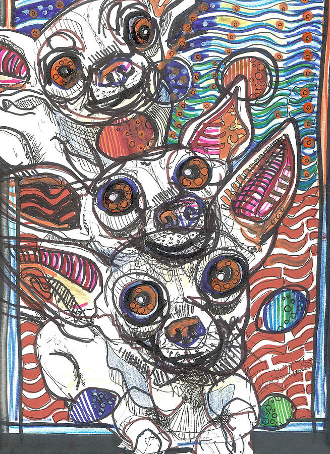 Neo-expressionism Drawing - Moodswings by Robert Wolverton Jr