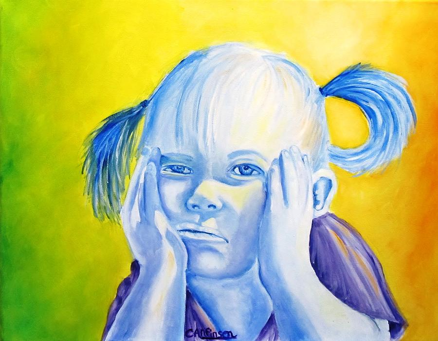 Child Painting - Moody Blues by Carol Allen Anfinsen