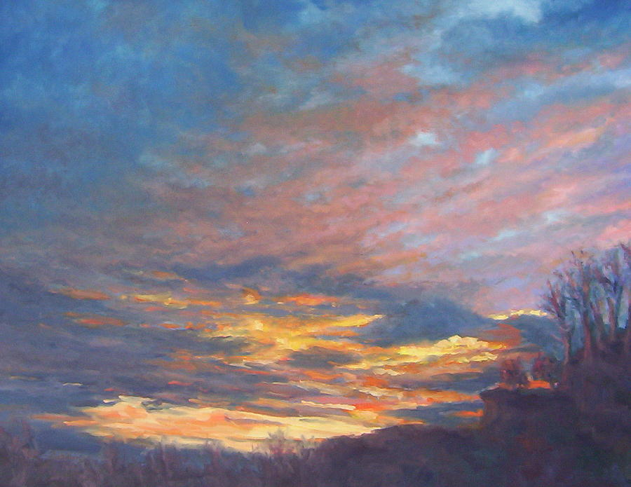 Landscape Painting - Moody Blues by Cindy Sugg