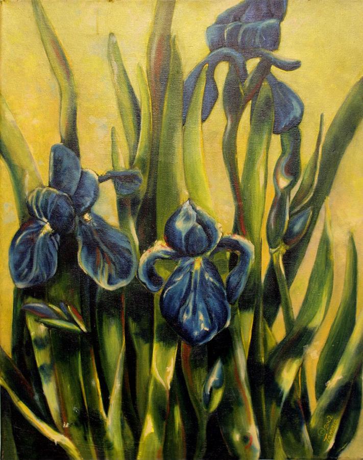 Irises Painting - Moody Irises by Tamara Kulish