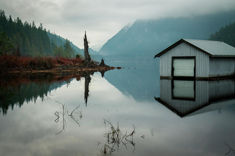 Boathouse Photograph - Moody Reflection by Windy Corduroy