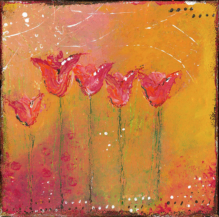 Moody Tulips Painting by Adonna Ebrahimi