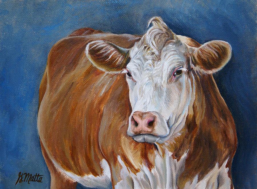 Cow Painting - Moohawk by Gretchen Matta