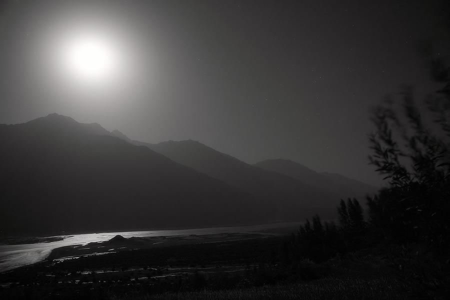 Asia Photograph - Moon Above Pyandzh Valley by Konstantin Dikovsky