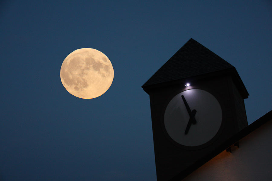 Moon and Clock Tower by Pat Moore