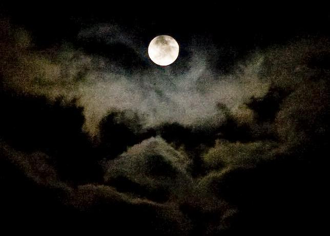 Moon Photograph - Moon And Clouds by Carla Neufeld