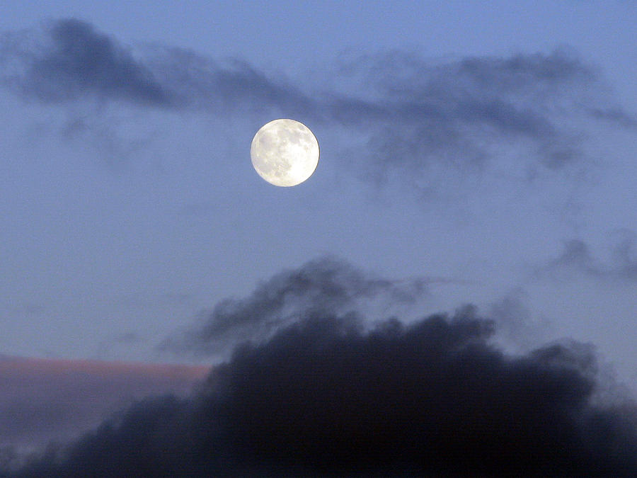 Moon Photograph - Moon And Clouds by Richard Singleton