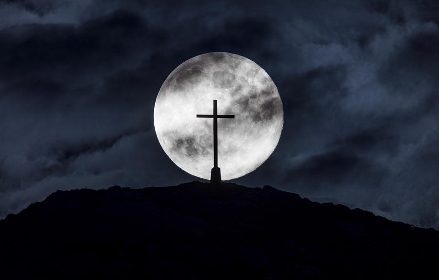 Moon And Cross Photograph by Tony Brierton