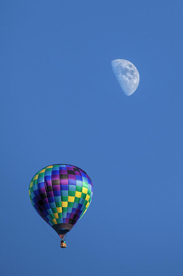 Moon And Hot Air Balloon Photograph
