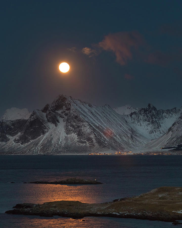Full Photograph - Moon And Mountains In Lofoten by Alex Conu