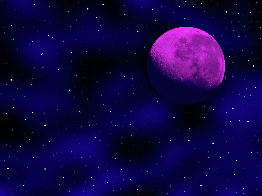 Moon Photograph - Moon And Stars by Mark Blauhoefer