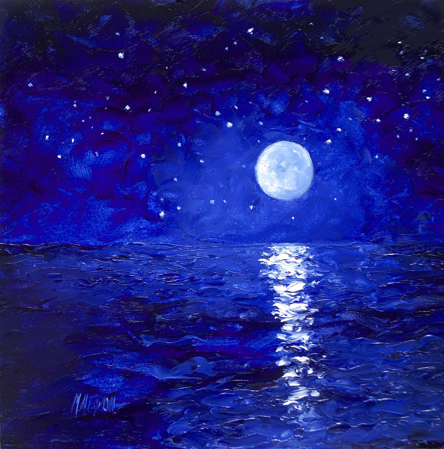 Image result for moon and stars painting