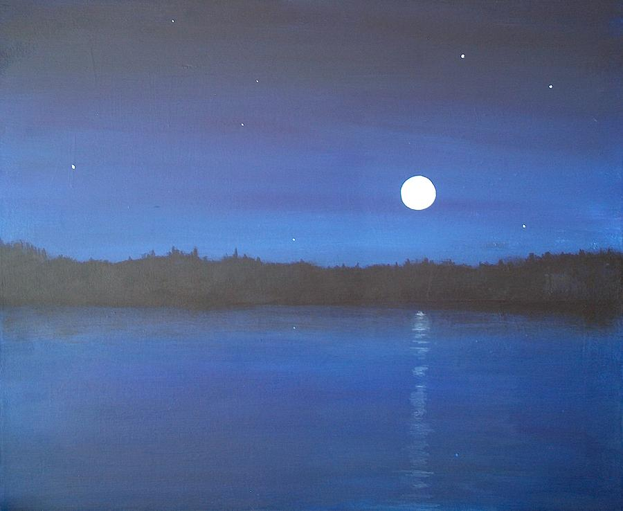 Night Painting - Moon And Stars Reflected by Denise   Hoff