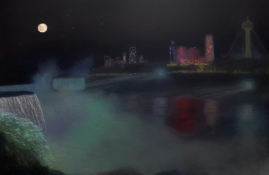 Moon At Niagara Painting