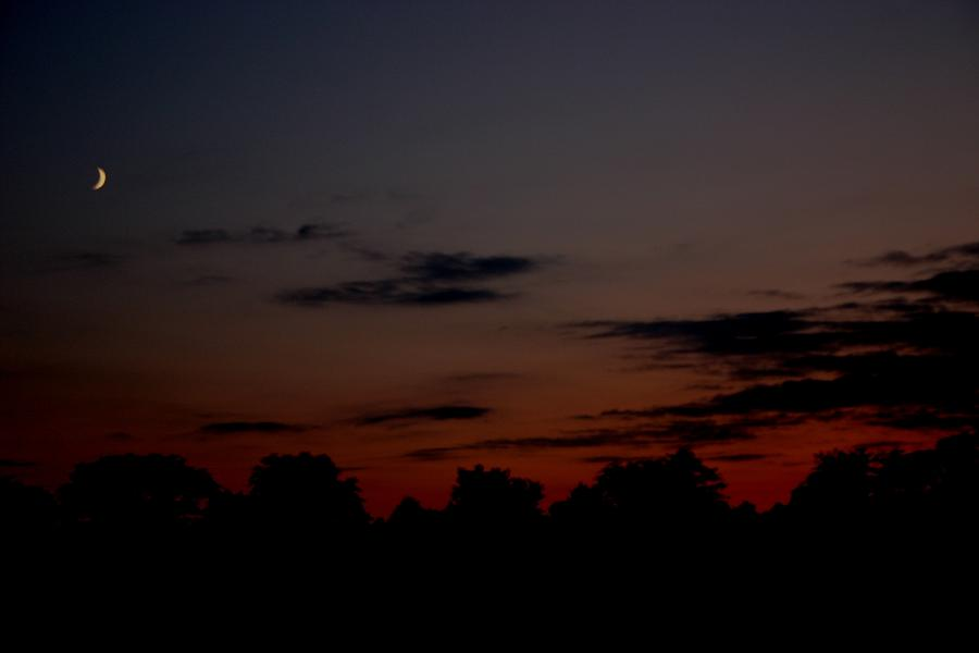 Sunset Photograph - Moon At Sunset by Linda  Stover