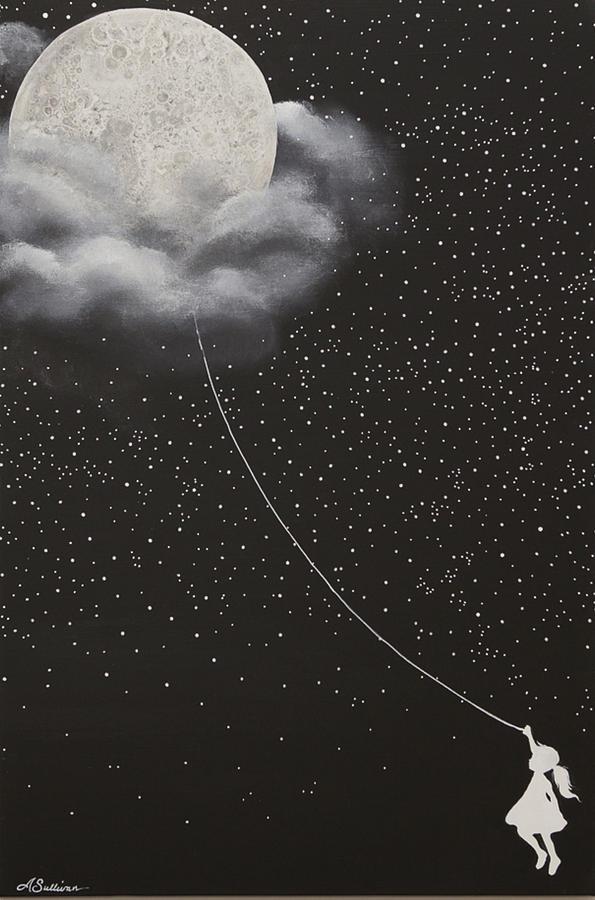moon balloon painting by audrey sullivan