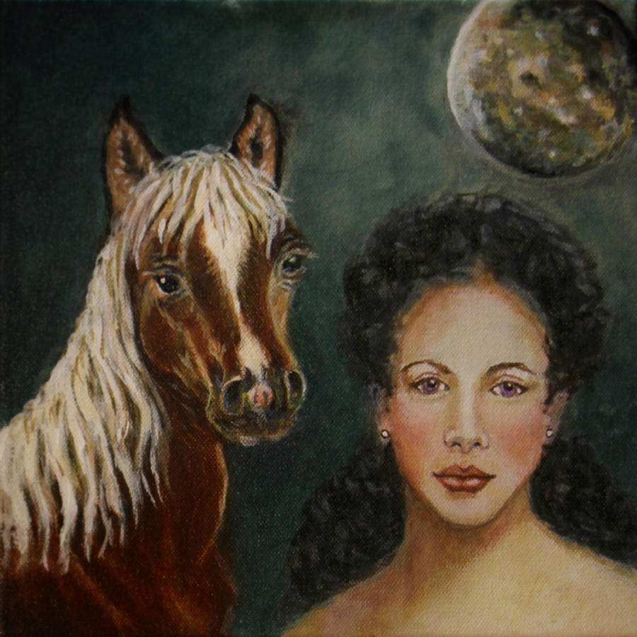 Horse Painting - Moon Beams by The Art With A Heart By Charlotte Phillips