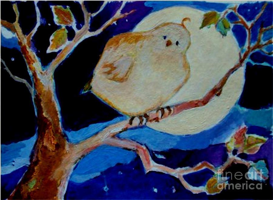 Moon Painting - Moon Bird by Diane Ursin