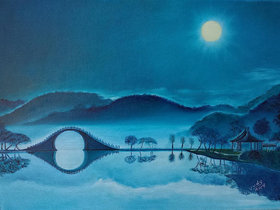 Moon Bridge Blue Painting