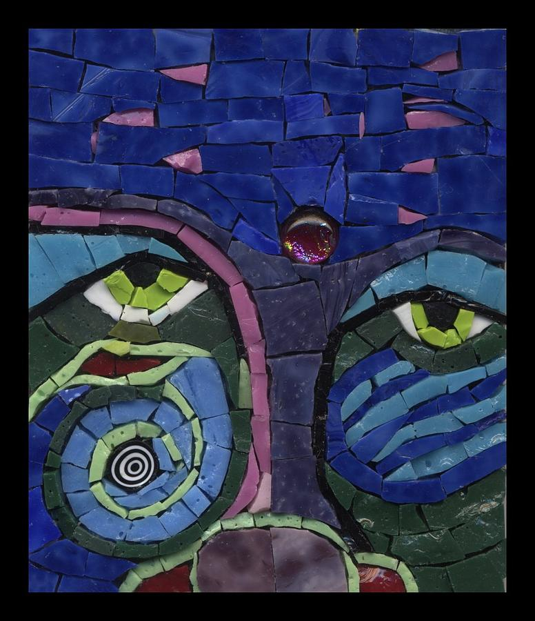 Mosaic Painting - Moon Child - Fantasy Face No. 7 by Gila Rayberg