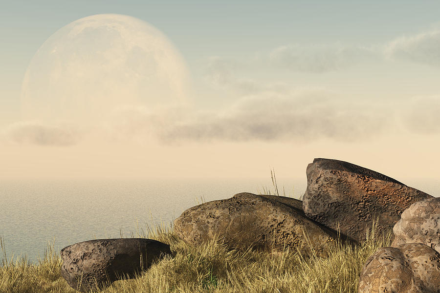 Seascape Digital Art - Moon Coast by Mindscape Arts