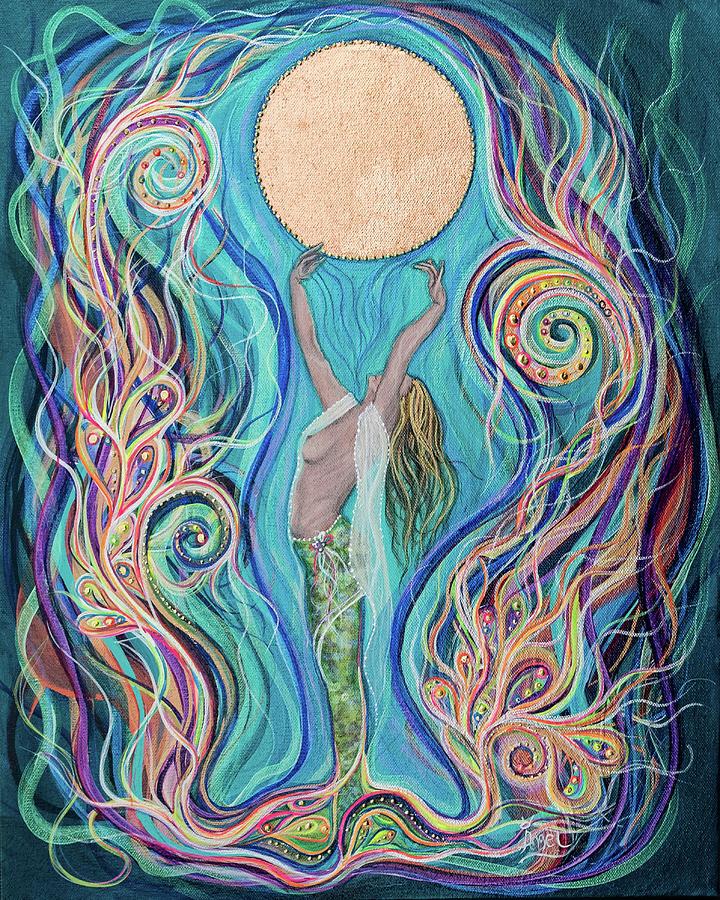 Mermaid Painting - Moon Dance by Angel Fritz