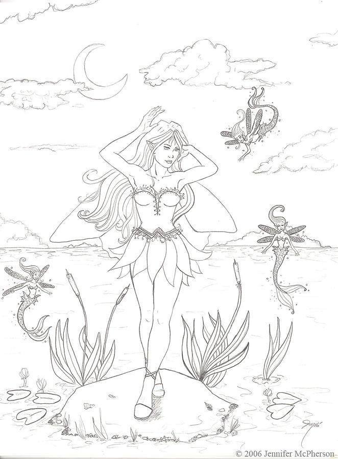 Fairy Drawing - Moon Dance by Jennifer McPherson