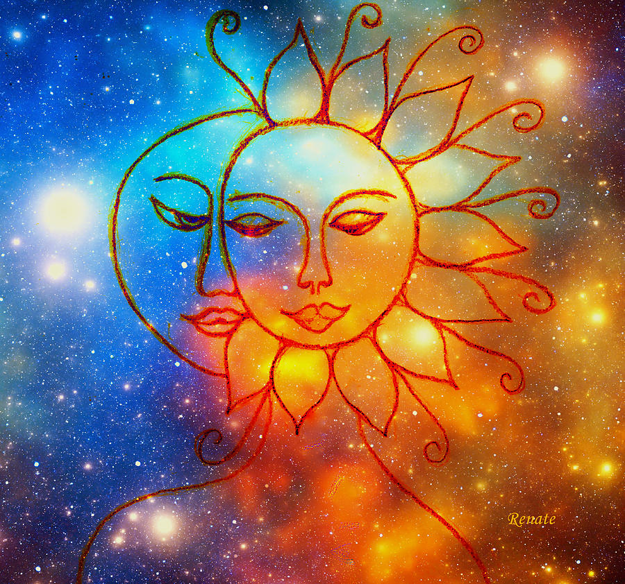 Moon Do You Love Me Asks The Sun Drawing by Renate Dartois