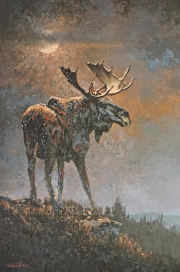 Moose Painting - Moon Dusted Moose by Mia DeLode