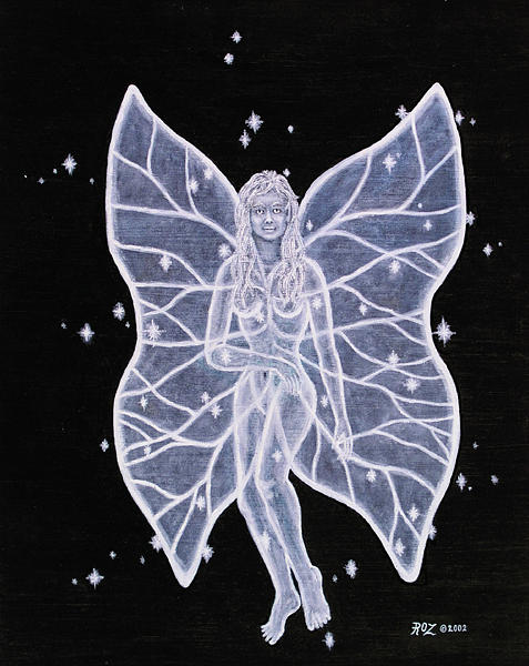 Fairy Painting - Moon Fairy by Roz Eve