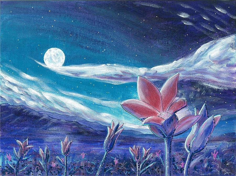 Landscape Painting - Moon Flower by Dave Herrling