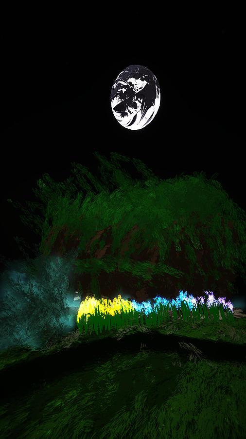 Tilt Digital Art - Moon Flowers by Kab