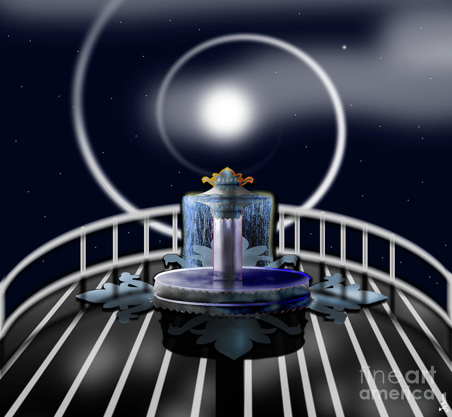 Moon Fountain Digital Art