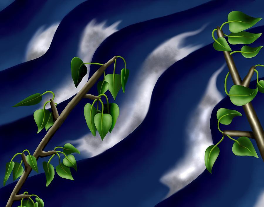 Surrealism Digital Art - Moon-glow I - Poplars Over Water At Night by Robert Morin