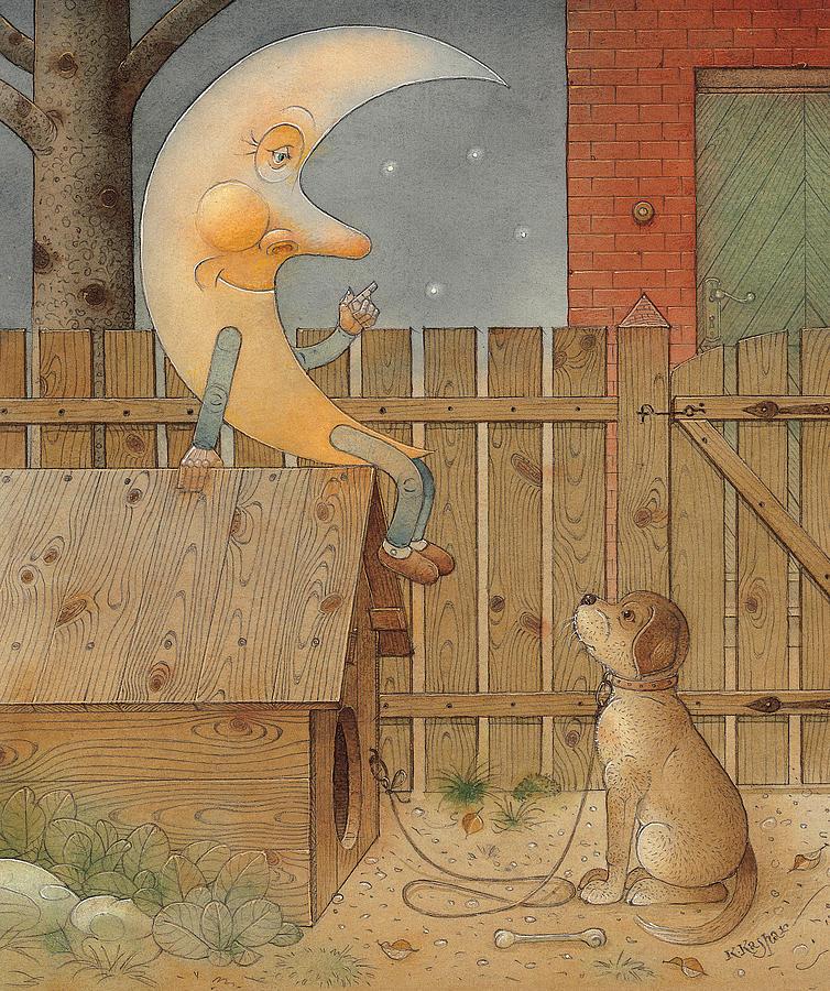 Moon Night Dark Dog Painting - Moon by Kestutis Kasparavicius