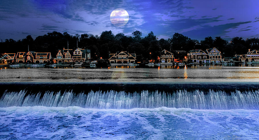 Moon Light - Boathouse Row Philadelphia by Bill Cannon