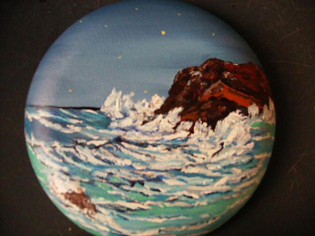 Ocean Waves Painting - Moon Light In Monterey by Terry Lash
