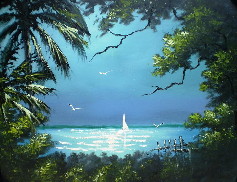 Sail Boat Painting - Moon Light On The The River by Francis Roberts ll