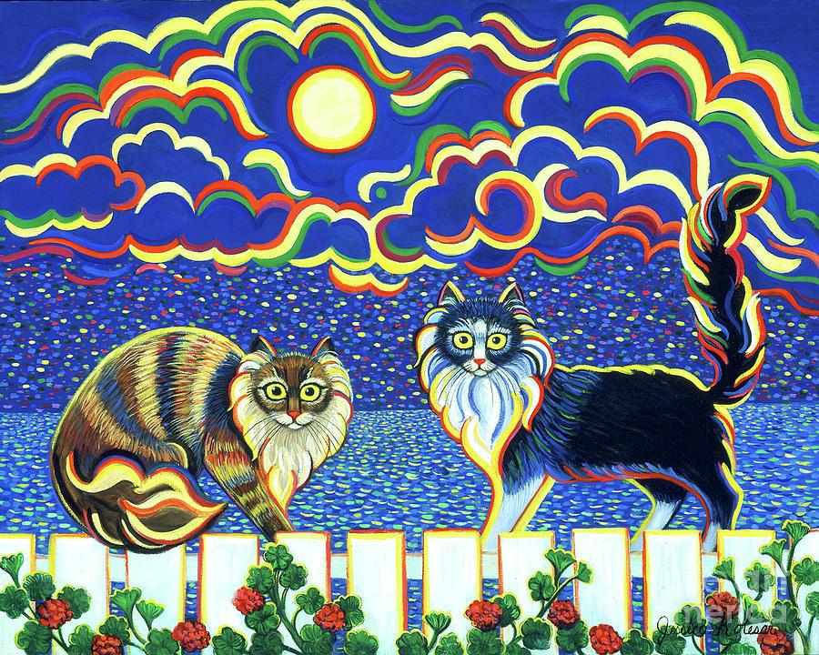 Fence Painting - Moon Light Tango by Jessica Kolesar