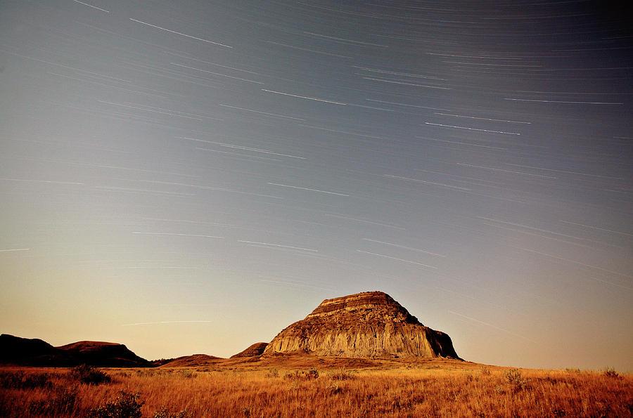 Moon Lit Castle Butte And Star Tracks In Scenic Saskatchewan Digital Art