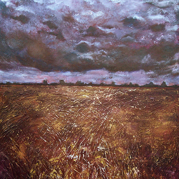 Harvest Painting - Moon-lit Harvest by Lisa Marie Dole Skinner