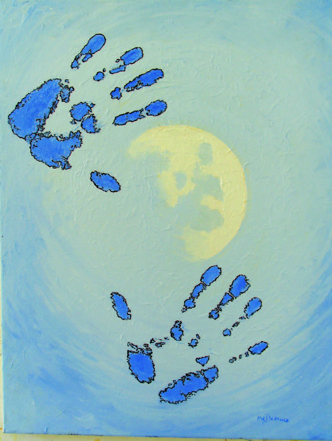 Blue Painting - Moon Man by Michael DeMusz