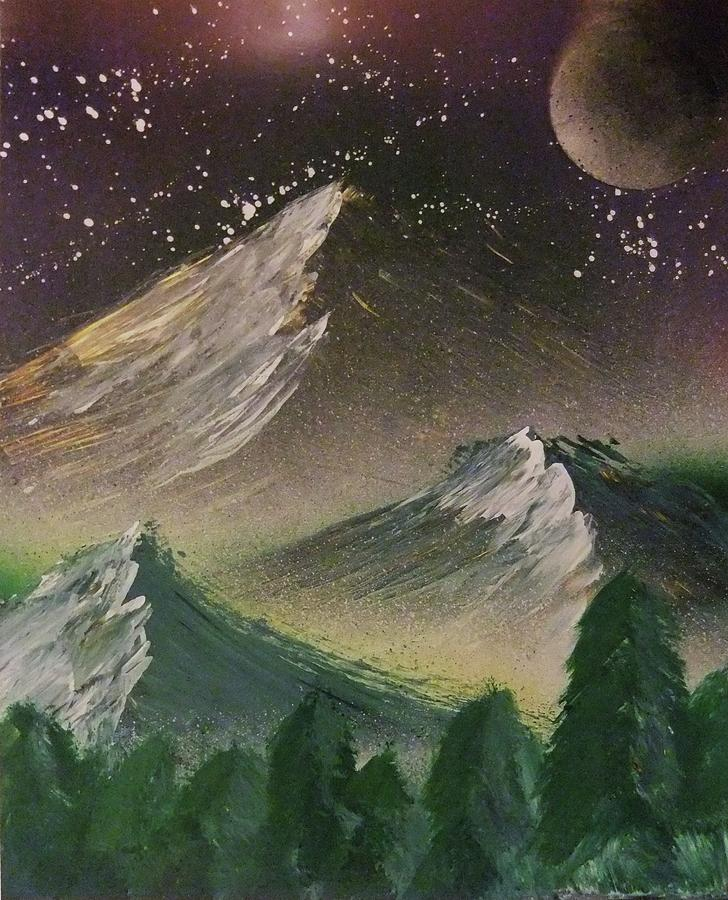 Mountain Painting - Moon Mountain by Cd  Johnson