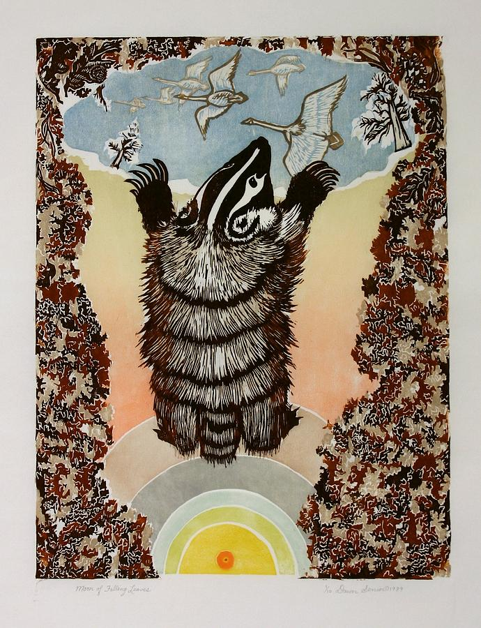 Animal Drawing - Moon Of Falling Leaves by Dawn Senior-Trask