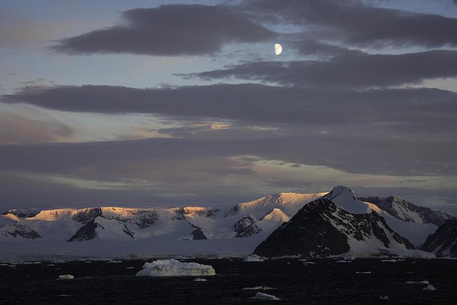Moon Photograph - Moon over alpine glow Antarctica by Ralph Fahringer