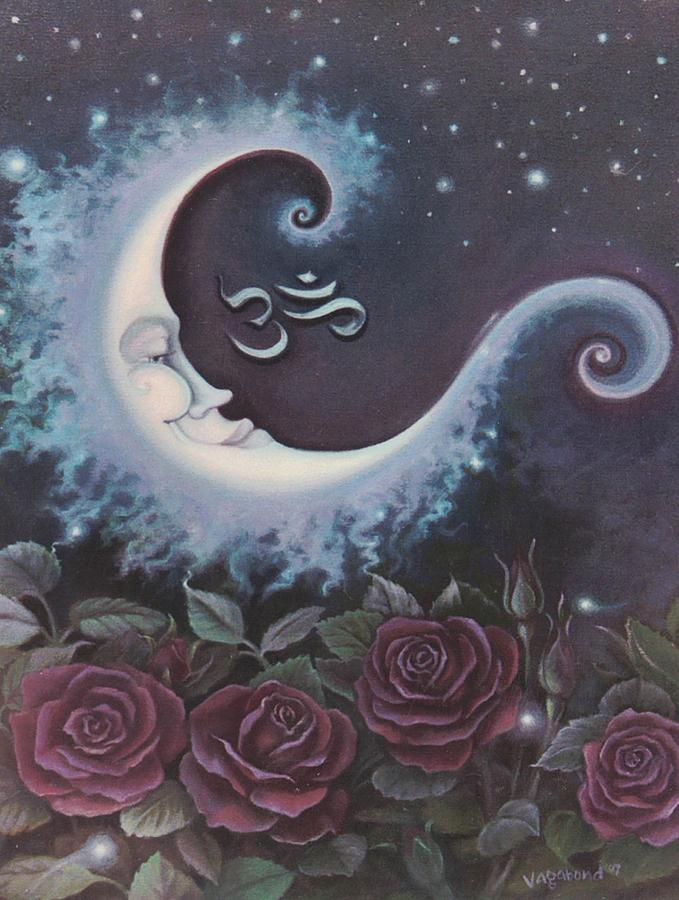 Moon over Bed of Roses by Suzn Smith