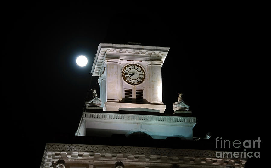 Full Moon Photograph - Moon Over City Hall by David Lee Thompson