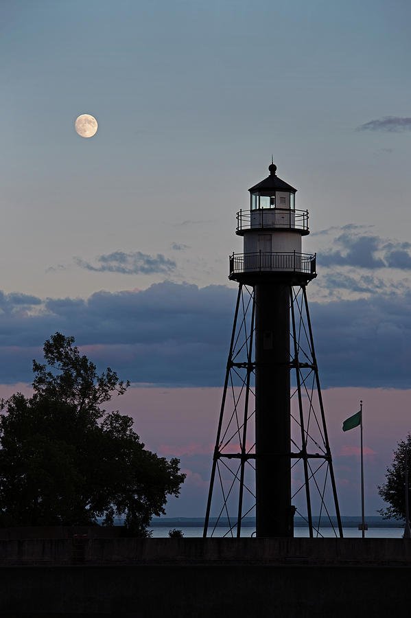 Moon Over Inner Lighthouse by David Lunde
