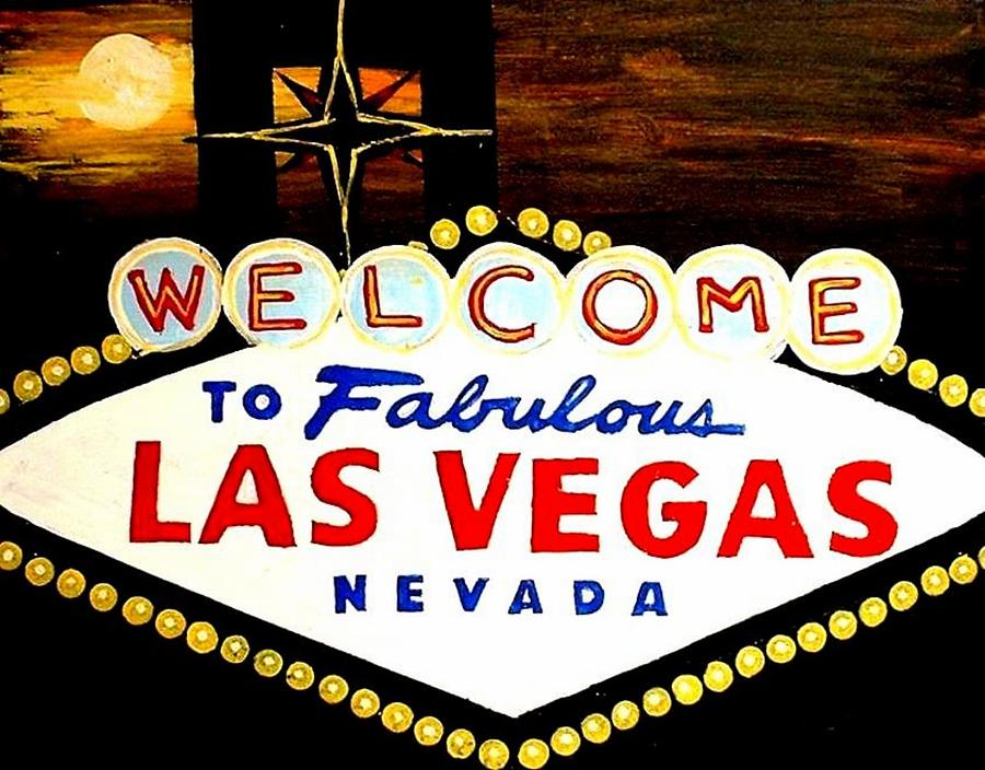 Las Vegas Painting - Moon Over Las Vegas Painting by Teo Alfonso