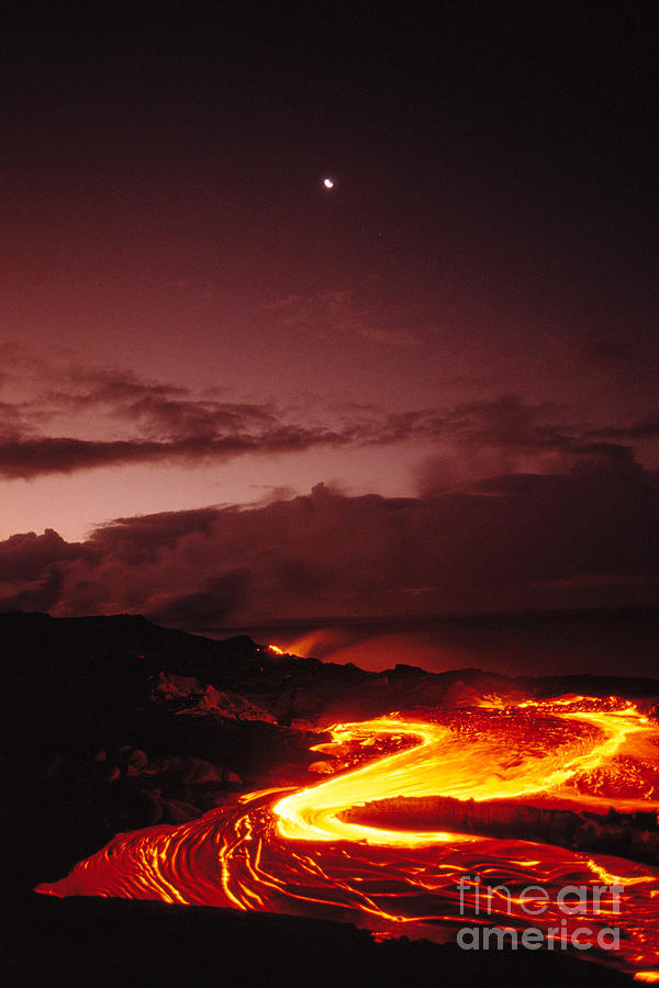 Active Photograph - Moon Over Lava At Dawn by Peter French - Printscapes